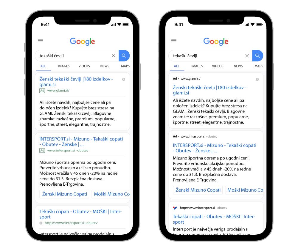 Primerjava med starim in novim izgledom Google iskalnih oglasov